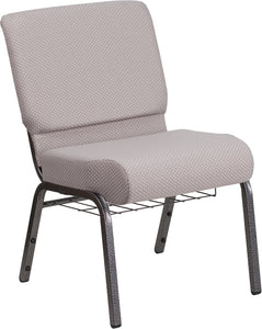 HERCULES Series 21''W Church Chair in Gray Dot Fabric with Book Rack - Silver Vein Frame - FD-CH0221-4-SV-GYDOT-BAS-GG