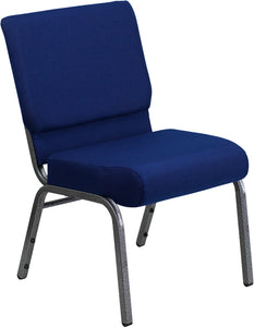 HERCULES Series 21''W Stacking Church Chair in Navy Blue Fabric - Silver Vein Frame - FD-CH0221-4-SV-NB24-GG