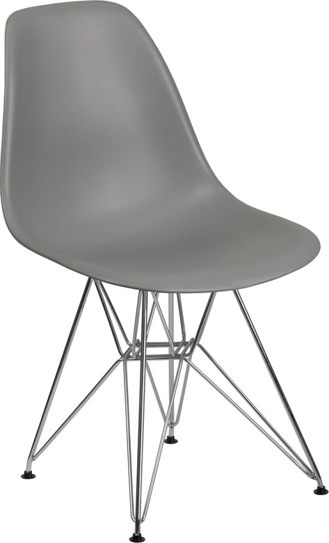 Elon Series Moss Gray Plastic Chair with Chrome Base