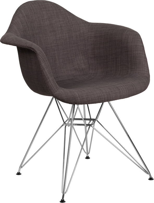 Alonza Series Siena Gray Fabric Chair with Chrome Base