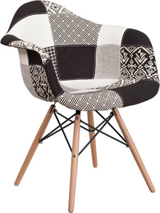 Alonza Series Turin Patchwork Fabric Chair with Wood Base