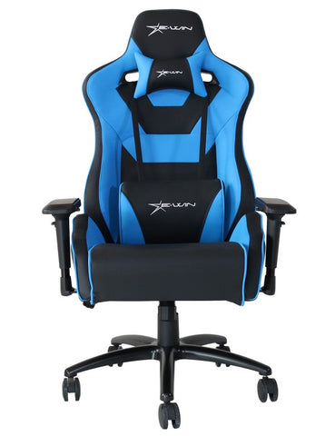 EWin Flash XL Size Series Ergonomic Computer Gaming Office Chair with Pillows - FLC - Black/Blue