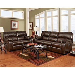 Exceptional Designs by Flash Reclining Living Room Set in Canyon Chocolate Leather