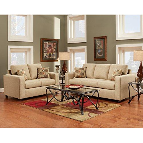 Exceptional Designs by Flash Living Room Set in Vivid Beige Fabric