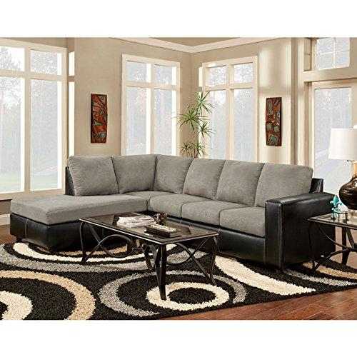Exceptional Designs by Flash Sensation Grey Microfiber L-Shaped Sectional