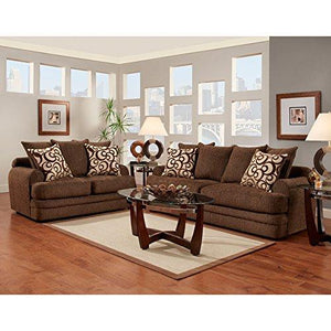 Exceptional Designs by Flash Living Room Set in Caliber Walnut Chenille