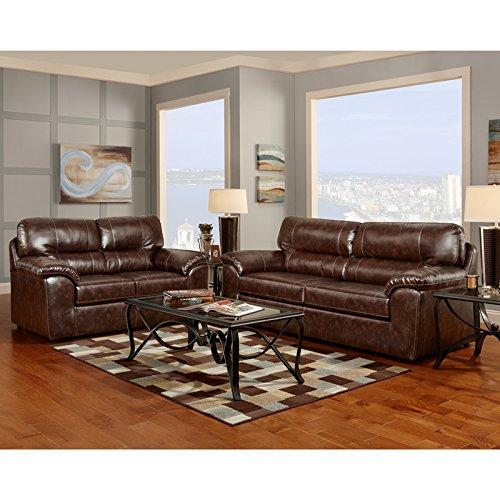 Exceptional Designs by Flash Living Room Set in Cheyenne Cafe Leather