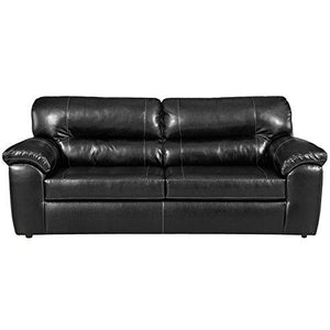 Exceptional Designs by Flash Taos Black Leather Sofa