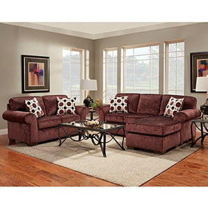 Exceptional Designs by Flash Living Room Set in Prism Elderberry Microfiber