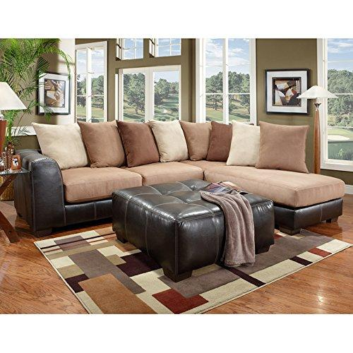 Exceptional Designs by Flash Sea Rider Saddle Microfiber L-Shaped Sectional