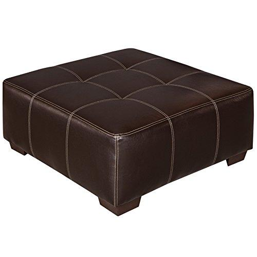 Exceptional Designs by Flash Brown Leather Ottoman
