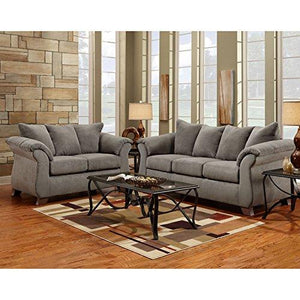 Exceptional Designs by Flash Living Room Set in Sensations Grey Microfiber