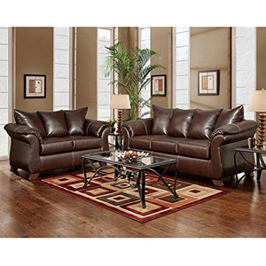 Exceptional Designs by Flash Living Room Set in Taos Mahogany Leather