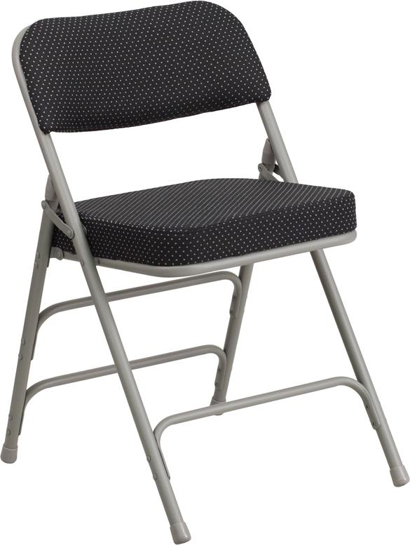 HERCULES Series Premium Curved Triple Braced & Double Hinged Black Pin-Dot Fabric Metal Folding Chair - AW-MC320AF-BK-GG