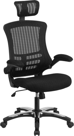 High Back Black Mesh Executive Swivel Chair with Chrome Plated Nylon Base and Flip-Up Arms - BL-X-5H-GG