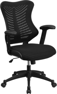 High Back Designer Black Mesh Executive Swivel Chair with Adjustable Arms - BL-ZP-806-BK-GG