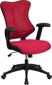 High Back Designer Burgundy Mesh Executive Swivel Chair with Adjustable Arms - BL-ZP-806-BY-GG