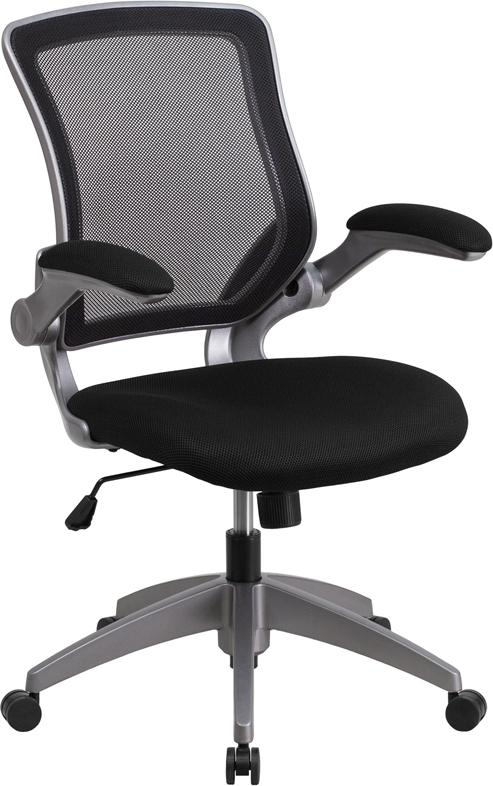 Mid-Back Black Mesh Swivel Task Chair with Gray Frame and Flip-Up Arms - BL-ZP-8805-BK-GG