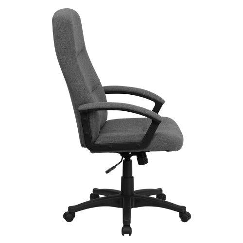 High Back Gray Fabric Executive Swivel Chair with Arms - BT-134A-GY-GG