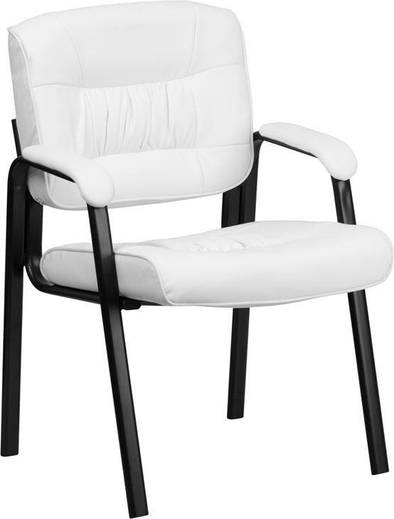 White Leather Executive Side Reception Chair with Black Frame Finish - BT-1404-WH-GG