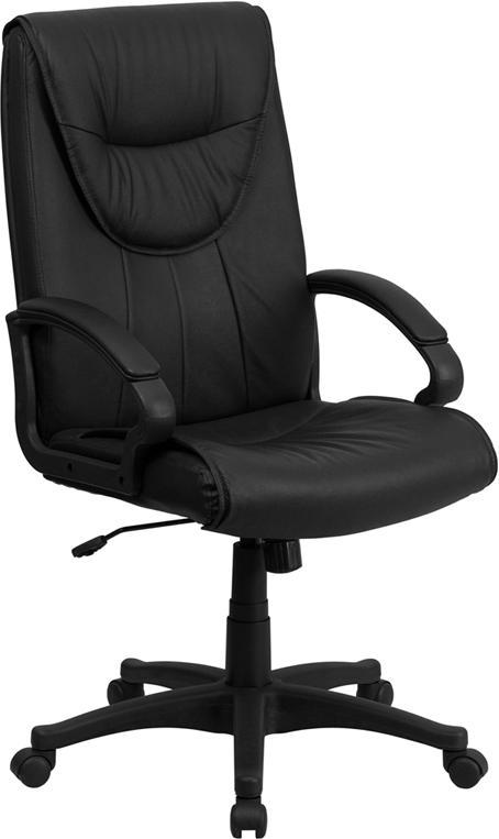 High Back Black Leather Executive Swivel Chair with Arms - BT-238-BK-GG