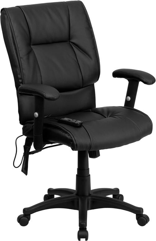 Mid-Back Massaging Black Leather Executive Swivel Chair with Adjustable Arms - BT-2770P-GG