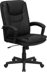 High Back Black Leather Executive Swivel Chair with Arms - BT-2921-BK-GG