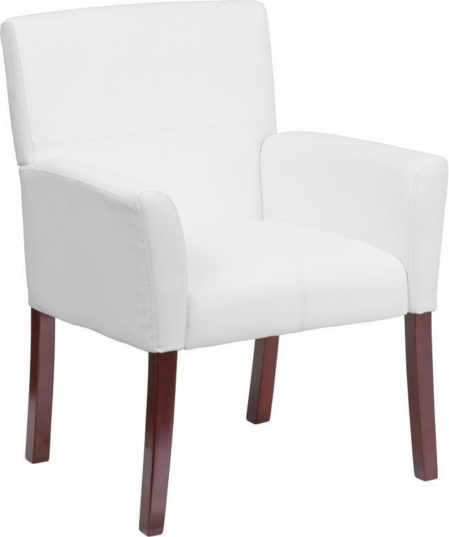 White Leather Executive Side Reception Chair with Mahogany Legs - BT-353-WH-GG