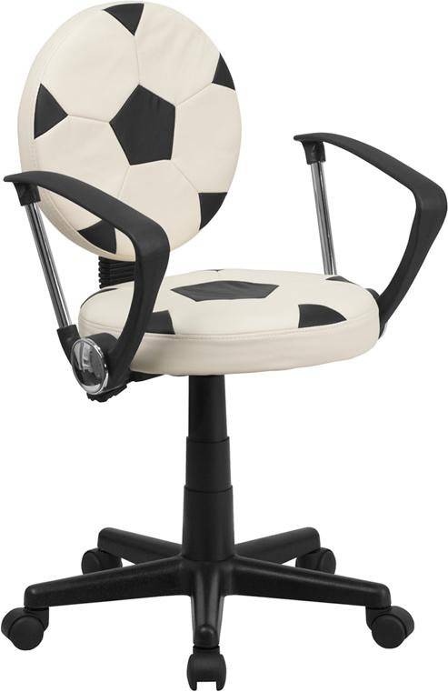 Soccer Swivel Task Chair with Arms - BT-6177-SOC-A-GG