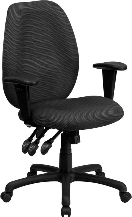 High Back Gray Fabric Multifunction Ergonomic Executive Swivel Chair with Adjustable Arms - BT-6191H-GY-GG