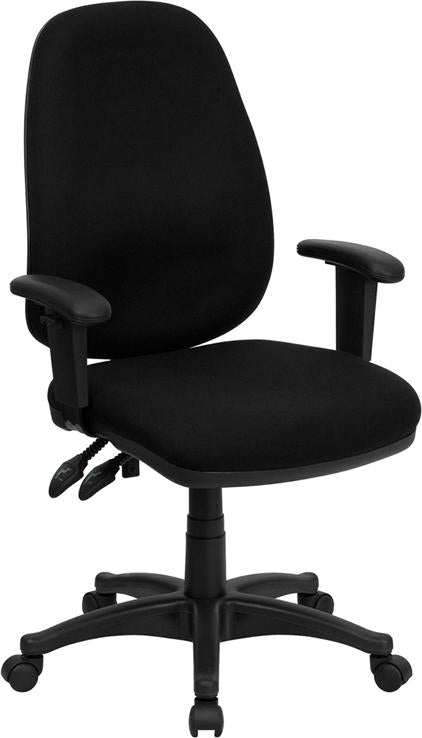High Back Black Fabric Executive Swivel Chair with Adjustable Arms - BT-661-BK-GG
