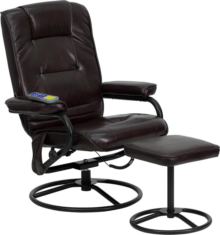 Massaging Brown Leather Recliner and Ottoman with Metal Bases - BT-703-MASS-BN-GG