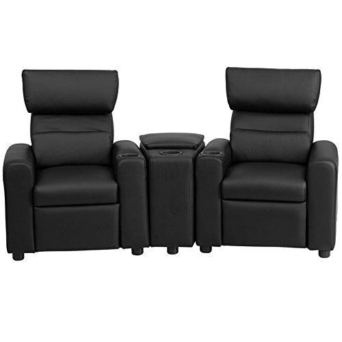 Kid's Black Leather Reclining Theater Seating with Storage Console - BT-70592-BK-LEA-GG