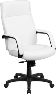 High Back White Leather Executive Swivel Chair with Memory Foam Padding with Arms - BT-90033H-WH-GG