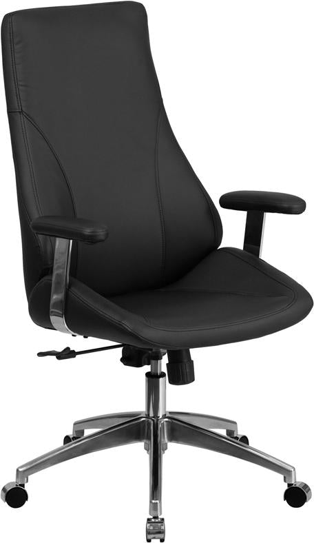 High Back Black Leather Executive Swivel Chair with Arms - BT-90068H-GG