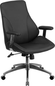 Mid-Back Black Leather Executive Swivel Chair with Arms - BT-90068M-GG