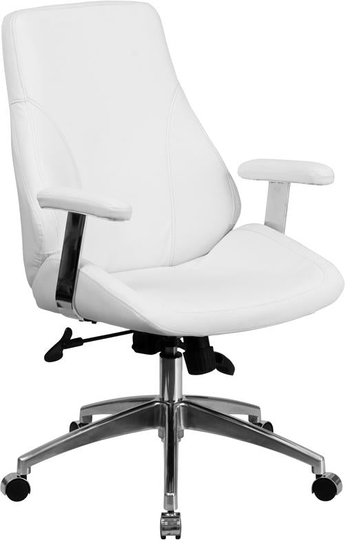 Mid-Back White Leather Executive Swivel Chair with Arms - BT-90068M-WH-GG