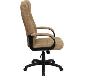 High Back Beige Fabric Executive Swivel Chair with Arms - BT-9022-BGE-GG