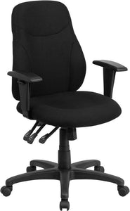 Mid-Back Black Fabric Multifunction Ergonomic Swivel Task Chair with Adjustable Arms - BT-90297M-A-GG