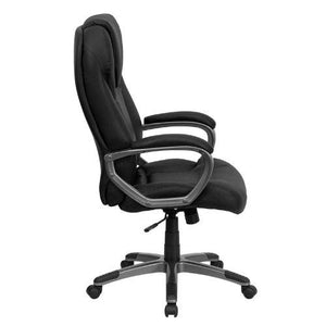 High Back Black Leather Executive Swivel Chair with Arms - BT-9066-BK-GG
