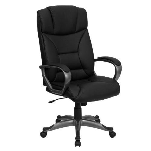 High Back Black Leather Executive Swivel Chair with Arms - BT-9177-BK-GG
