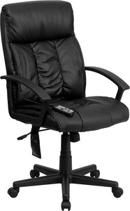 High Back Massaging Black Leather Executive Swivel Chair with Arms - BT-9578P-GG