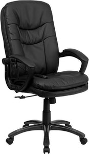 High Back Massaging Black Leather Executive Swivel Chair with Arms - BT-9585P-GG