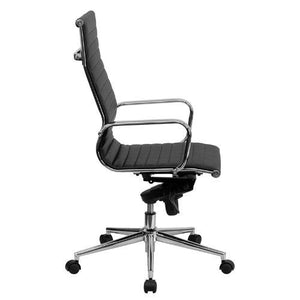 High Back Black Ribbed Leather Executive Swivel Chair with Knee-Tilt Control and Arms - BT-9826H-BK-GG