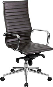 High Back Brown Ribbed Leather Executive Swivel Chair with Knee-Tilt Control and Arms - BT-9826H-BRN-GG