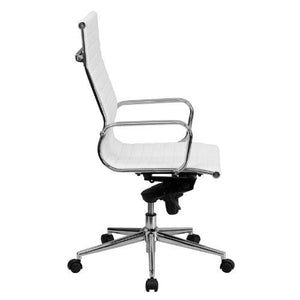 High Back White Ribbed Leather Executive Swivel Chair with Knee-Tilt Control and Arms - BT-9826H-WH-GG