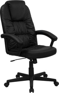 High Back Black Leather Executive Swivel Chair with Arms - BT-983-BK-GG