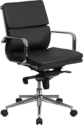 Mid-Back Black Leather Executive Swivel Chair with Synchro-Tilt Mechanism and Arms - BT-9895M-BK-GG