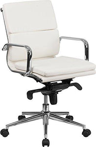 Mid-Back White Leather Executive Swivel Chair with Synchro-Tilt Mechanism and Arms - BT-9895M-WH-GG