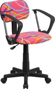 Multi-Colored Swirl Printed Pink Swivel Task Chair with Arms - BT-OLY-A-GG